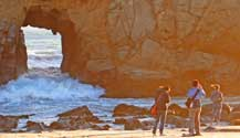 Pfeiffer Beach in Big Sur is one of the best beaches to walk along with your family, but no swimming here, the current is way too strong.
