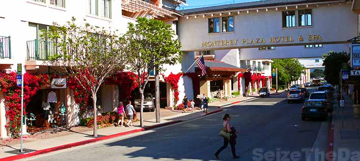 There are a number of Hotels near the Monterey Aquarium.  Many within walking distance!