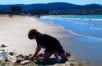 Building Sand Castles at Monterey Beach is a Blast!