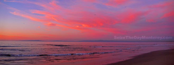 Pink Cotton Candy Clouds after a Sun Set in Monterey are Beautiful