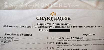 Custom Menu at the Chart House in Cannery Row, Monterey